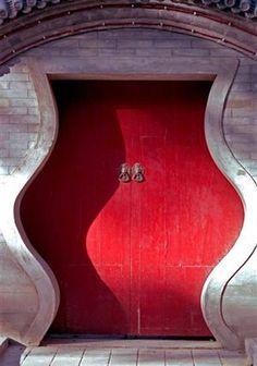 A Red Door in the Hutong, Beijing,...
