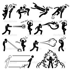 Kungfu Fighter Super Human Special Power Mutant Stick Figure Pictogram Icon — Stock Illustration #23121568