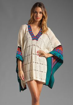 JEN'S PIRATE BOOTY Amazing Grace Poncho in Winter White/Black Guipil at Revolve Clothing - Free Shipping!