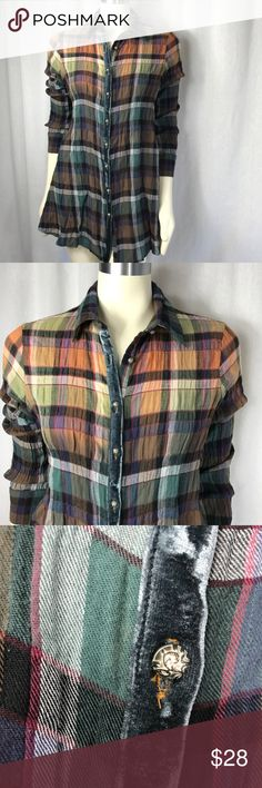 Soft Surroundings • Paid Tunic• Size Small Gorgeous long sleeve plaid Tunic. Gathers in the back with a button, flowing fabric in the back, stripe of velvet lined with the button holes adds to the detail including the artsy buttons. Pair with jeans or dress pants would also look good with a long pencil skirt. Awesome for weRing with leggings no snags, holes or piling. Pet and smoke free boutique Soft Surroundings Tops Tunics