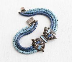 Vintage Art Deco Blue Enamel Bow Bracelet - Antique 1930s Silver Tone Three Tone Blue Enamel Snake Chain Costume Jewelry Bracelet by Maejean Vintage on Etsy, $110.00