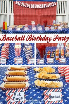 Baseball birthday party - this is such a fun theme for a sports party food Softball Party, Baseball Birthday Party, Sports Birthday, Sports Party, Boy Birthday Parties, Birthday Fun, Birthday Ideas, Kids Baseball Party, Baseball Party Themes