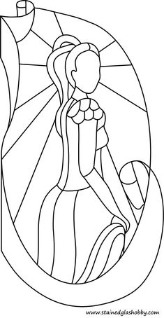 Outline Lady in dress stained glass template