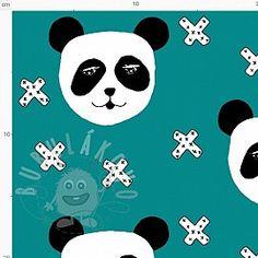 Teplákovina BIO Panda dark cyan