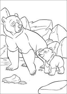 kleurplaat Brother Bear - Kenai en Koda