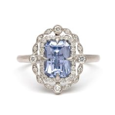 Monday Blues (the good kind) #sofiakaman #sapphireengagementring #decoinspiration #platinumengagementring #uniqueengagementring #oneofakind #romantic #madeinla #abbotkinney #vintageinspired #sapphire #finejewelry #jewelrylover