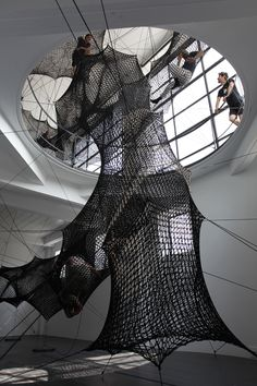 Test your climbing skills with a vertical ascent through three stories of a gallery atrium with the newest interactive installation by design collective Numen/For Use. Occupying Austria's Architekt… Innsbruck, Interactive Installation, Light Installation, Art Installations, Atrium Design, Stage Design, Fabric Structure, Space Gallery, Public Art
