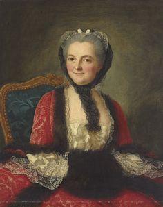 Marianne Loir, Portrait d'une femme en rouge avec un manchon noir.