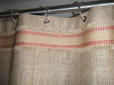 I like the red ribbon and want to put it on the burlap curtains I will make for my living room. Clip curtain rings would work well instead of dealing with the grommets. Burlap Projects, Burlap Crafts, Sewing Projects, Window Coverings, Window Treatments, Burlap Shower Curtains, My Living Room, Cottage Living, Window Dressings