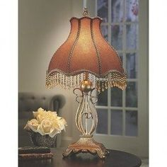Victorian Beaded Lamp from Midnight Velvet®. Topped by a shapely beaded shade of jacquard fabric, this pretty lamp adds a touch of Victorian elegance to a room. Fabric Shades, Lamp Shades, Victorian Table Lamps, Baroque, Old Fashioned House, Interior Lighting, Luxury Living, Lamp Light, Floor Lamp