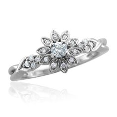14k White Gold Flower Shape Diamond Ring Band - This very elegant & classy flower style Diamond Ring band is beautifully rendered in 14k gold & studded with 19 dazzling icy white diamonds. #unusualengagementrings