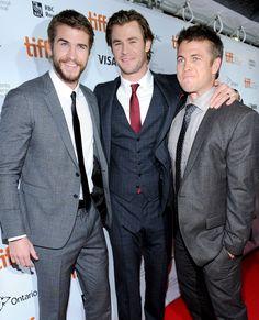 Liam, Chris et Luke Hemsworth à la première du film Rush