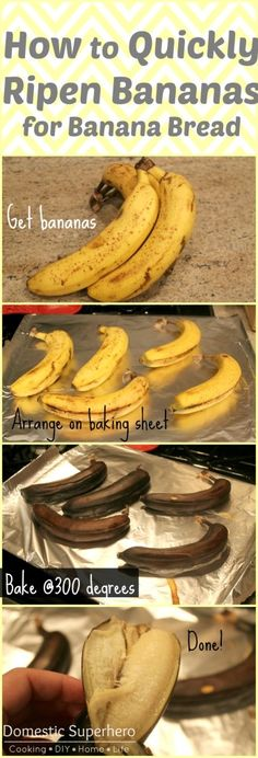 How to Quickly Ripen Bananas for Banana Bread {Awesome! My family is always eating them before they can ripen enough for me to make the bread! Problem solved!}