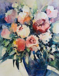 Rosen Aquarelle Von Angela Tatli #Blumenaquarelle