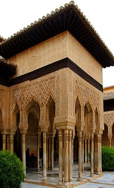 The Patio de los Leones within the Alhambra is where there was a structure with 12 carved marble lions - under restoration when we visited. Of big interest was the pavilion with its slender columns and if you look closely water channels taking water to the lions to the right of the photo.