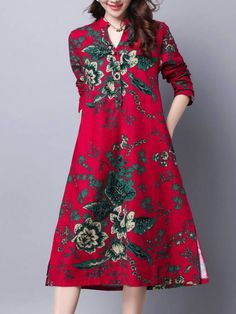 Ethnic Split Neck Pocket Printed Maxi Dress is hot sale on ByChicStyle, come to ByChicStyle to see more trendy Maxi Dresses online. Cheap Maxi Dresses, Cheap Dresses Online, Casual Dresses, Shift Dresses, Online Clothes, Bohemian Mode, Plaid Shirt Outfits, The Dress, Women's Fashion Dresses