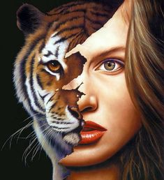 Mind Blowing Surreal Fine Art Paintings by Jim Warren Jim Warren is a U. self-taught artist best known for audio album and book cover artwork. Modern Surrealism, Surrealism Painting, Fantasy Paintings, Fantasy Art, Face Paintings, Jim Warren, Tiger Face, Top Artists, Gcse Art