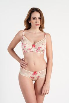 #Bikini: Double side yoked hipster adorned with rosy red floral print and smooth silky lace. Made out of high quality fabric and designed to give you comfort and style together.