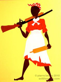 "Jemima's Revenge by Pierre Bennu -- cut paper & acrylic on large canvas 2010. Part of a larger narrative called the ""Reason Aunt Jemima Smiles"" [click on this image to find a short clip and analysis of how other artists have used art as a site of public engagement]"