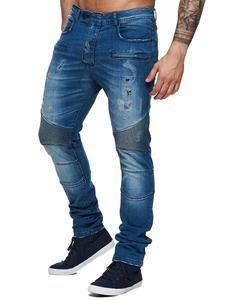 F&S Men Slim Fit Denim Ball Biker Distressed Jeans - Blue