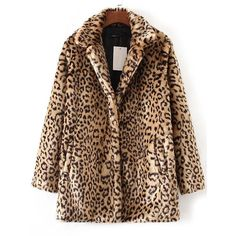 Leopard Button Up Faux Fur Coat (14 BAM) ❤ liked on Polyvore featuring outerwear, coats, faux fur coat, imitation fur coats, brown faux fur coat, leopard coat and fake fur coat