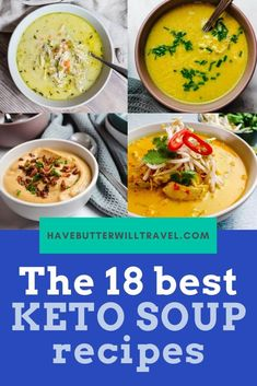 In this article you will find 18 of the best keto soup recipes for you to try this winter, including the classic soups made keto friendly. Low Carb Soup Recipes, Tomato Soup Recipes, Chowder Recipes, Easy Chicken Recipes, Keto Recipes, Healthy Recipes, Vegetable Soup Healthy, Vegetable Soup Recipes, Healthy Soup