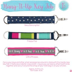 Hang-it-up Key Fob by Thirty-One. Spring/Summer 2016. Click to order. Join my VIP Facebook Page at https://www.facebook.com/groups/1603655576518592/
