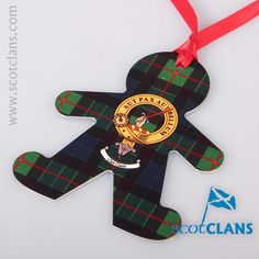 Gunn Clan Crest and Tartan Christmas Ornament. Free worldwide shipping available