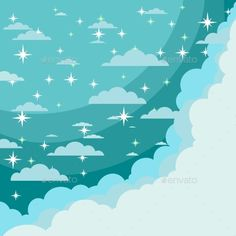 Vector Night Sky by Aleksei-Veprev Sky background with bright stars and moon.Vector night sky