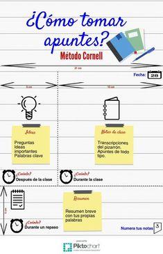 Cómo tomar apuntes: Método Cornell. | Piktochart Visual Editor Study Techniques, Study Methods, School Study Tips, Study Hard, School Notes, Study Inspiration, Studyblr, School Hacks, College Hacks