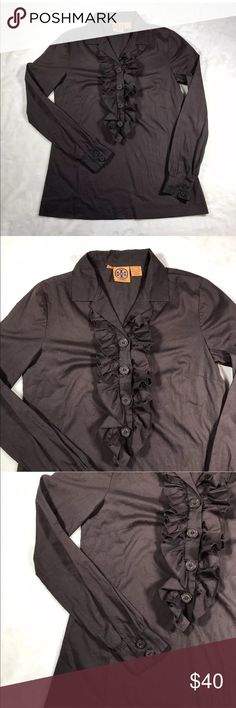 """Tory Burch Ruffle front Long sleeve Blouse Gorgeous Women's Tory Burch Ruffle Blouse Size: 2 Color: brown Material: 93% cotton/ 7% spandex Measurements- Bust: 18"""" Length: 25.5"""" Sleeve Length: 24"""" Tory Burch Tops Blouses"""