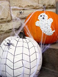 Make pumpkins out of office supplies... thumbtacks and sharpie markers! Easy no carve pumpkins!