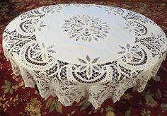 Gorgeous Battenberg Lace Tablecloth!