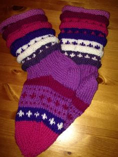 """Strikka sokker """" rosasokken """""""
