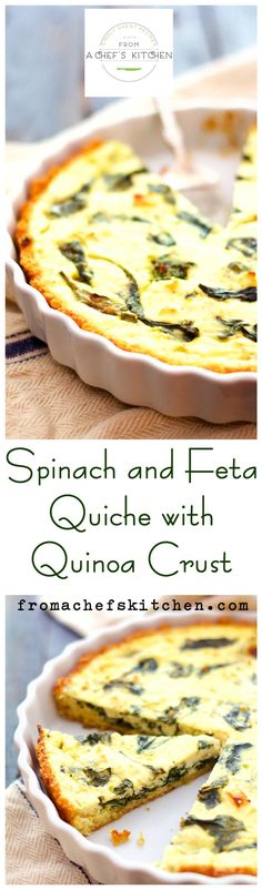 Have some leftover quinoa?  Use it to make this crispy yet delightfully chewy crust for this Spinach and Feta Quiche!