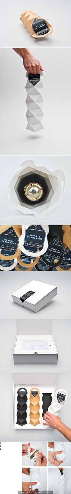 Quartz Champagne (Student Project) - Kutu, Paketleme, Ambalaj - Quartz Champagne (Student Project), Designers: Max Molitor & Cajza Nyden – www. Smart Packaging, Bottle Packaging, Brand Packaging, Wine Design, Bottle Design, Label Design, Package Design, Graphic Design, Champagne