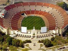 Los Angeles Coliseum - Aerial view - was there for the track & field events for the 1984 summer olympics. Track And Field Events, Track Field, 1984 Summer Olympics, Bullhead City, Nfl Photos, Superbowl Champions, Gillette Stadium, Usc Trojans, Soccer