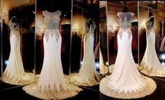 Ivory/gold formfittng Mermaid Pageant or Prom Gown with Gorgeous Embroidered Illusion Bodice and Sweeping Train. This Gown is definitely fit for a queen... literally and ONLY at Rsvp Prom and Pageant, Atlanta, GA. Buy it HERE at http://rsvppromandpageant.net/collections/long-gowns/products/ivory-gold-formfitting-pageant-prom-dress-train-illusion-bodice-115sk039120