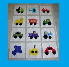 "What a great start for a little quilt. Set of 12 Transportation Vehicles Car Truck Train Police 6"" x 6"" Quilt  Blocks"