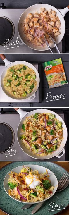 Dinner is the last thing you should stress over. This Bacon, Broccoli, Chicken & Rice recipe is here to solve mealtime anxiety. 1. Cook chicken 2. Prepare Knorr Rice Sides – Creamy Chicken flavor in the same skillet. Stir in broccoli when chicken is almost done. 3. Stir in chicken and onion. Sprinkle with bacon.