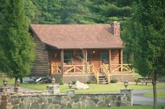 Honeymoon Log Cabins at Smoke Hole resort and Caverns in Seneca Rocks, West Virginia
