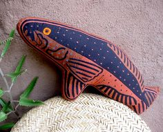 Rare Brown and Copper-Colored Mola Fabric Folk Art Fish by molamama, $36.50