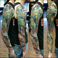 Space Jam full sleeve tattoo...  Danny Black Lotus, Severn MD
