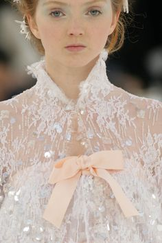 ♥♥   BEAUTIFUL LACE WITH SILK RIBBON BY #CHANEL #COUTURE