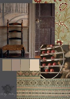 plums and soft greens, rust shades for Autumn