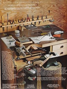 For william Book ~ Indian Jewellery Making by Oscar T. The Navajo silversmith workshop, jewelers work bench. Courtesy Starr Gem Inc. Working Area, Metal Working, Jewelry Tools, Jewelry Making, Diy Jewelry, Jewelers Workbench, Jewely Organizer, Workshop Studio, Jewellers Bench