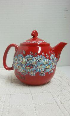 Red Ceramic Teapot, New from Chantal, Three Cup, Hand Painted, Scandinavian Folk Art, Folk Art Design, My Blue Daisy Garden.