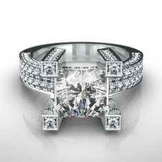 #jewelry 4 PRONGS DIAMOND PRINCESS RING 2.25 CT ESTATE 14 KT WHITE GOLD WOMEN APPRAISED please retweet