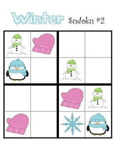 FUN winter games on TpT. Includes 4x4 sudoko, matching game, tic-tac-toe, and 'Go Fish'
