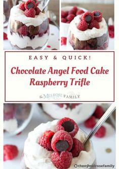 Angel Food Cake Trifle, Trifle Desserts, Easy Desserts, Chocolate Rasberry Cake, Chocolate Angel Food Cake, Baking Recipes, Cake Recipes, Yummy Recipes, Raspberry Trifle